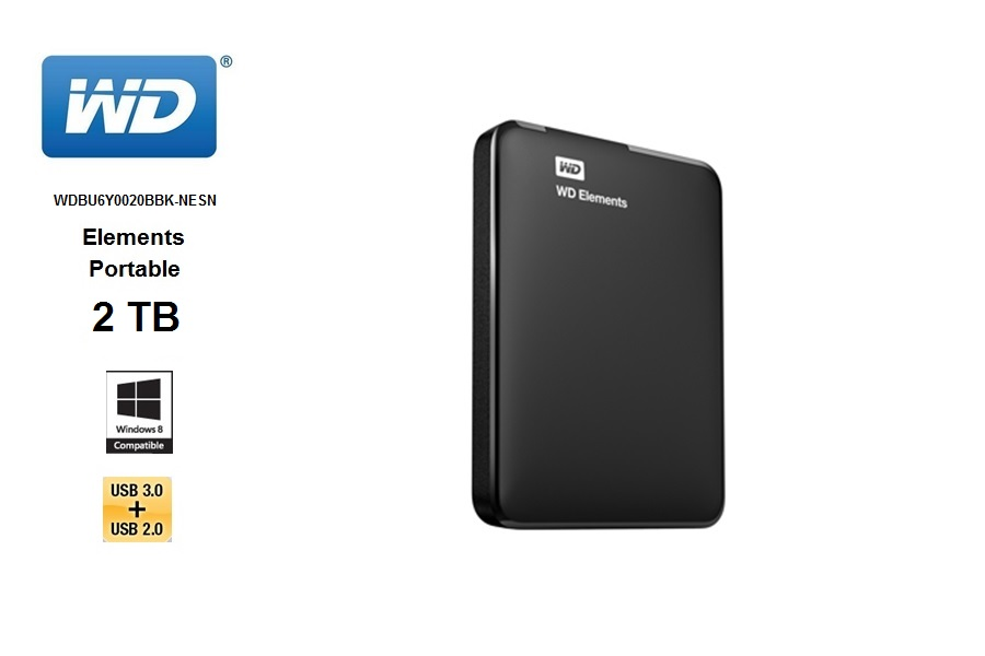 Western Digital Elements Portable  2 TB / USB 3.0 / negro.