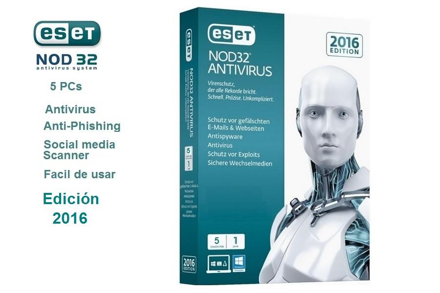 Eset Nod32 Edicion 2017 / 5 PCs