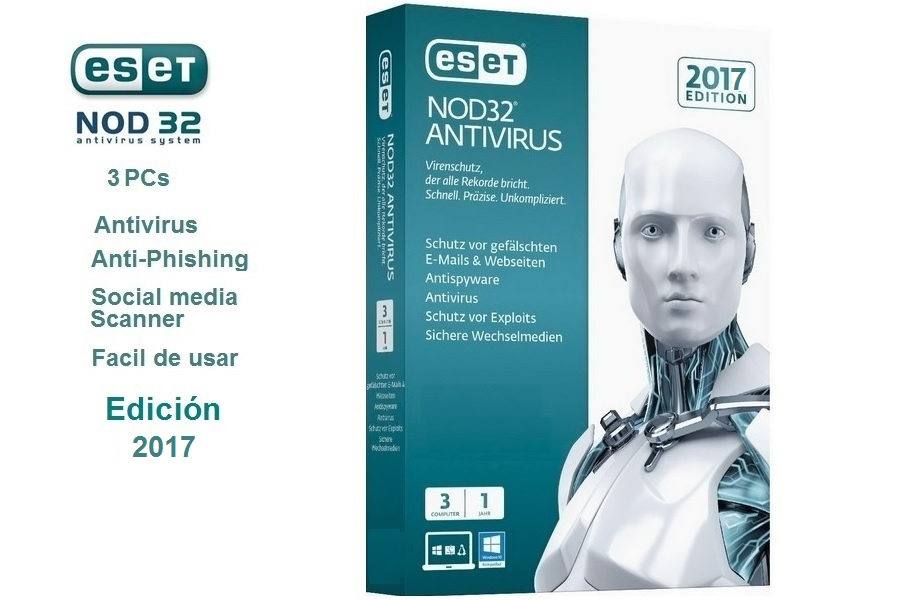 Eset Nod32 Edicion 2017 / 3 PCs