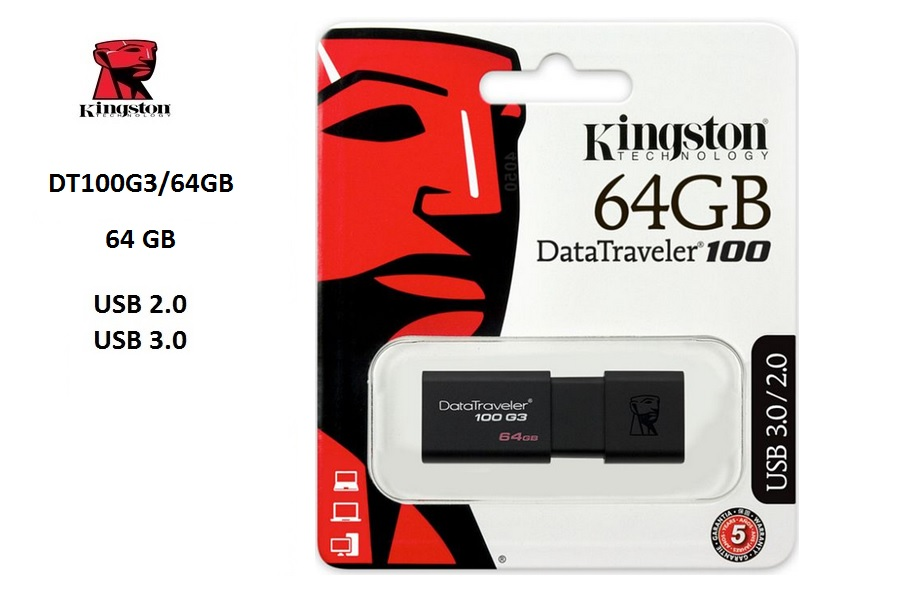 Kingston DataTraveler 100 G3, 64GB, USB 3.0